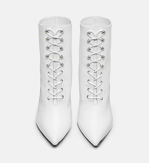 CALVIN KLEIN COLLECTION Calf Leather High-Heeled Lace-Up Booties - WHITE - CALVIN KLEIN COLLECTION SHOES & ACCESSORIES - detail image 1