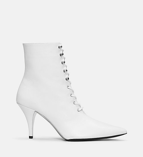 CALVIN KLEIN COLLECTION Calf Leather High-Heeled Lace-Up Booties - WHITE - CALVIN KLEIN COLLECTION SHOES & ACCESSORIES - main image