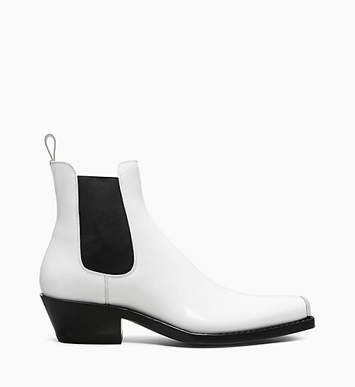 205W39NYC Silver Toe Plate Leather Chelsea Boots - WHITE - 205W39NYC SHOES & ACCESSORIES - main image