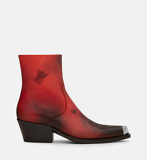 CALVIN KLEIN COLLECTION Disstressed Leather Western Ankle Boots - RED/ BLACK - CALVIN KLEIN COLLECTION SHOES & ACCESSORIES - main image