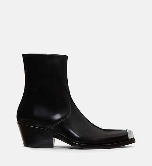CALVIN KLEIN COLLECTION Calf Leather Western Ankle Boots - BLACK - CALVIN KLEIN COLLECTION SHOES & ACCESSORIES - main image