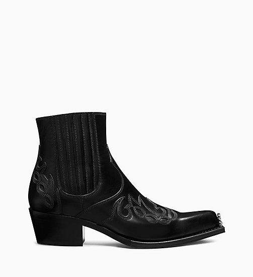 205W39NYC Appliqué Ankle Boots in Calf Leather - BLACK - 205W39NYC SHOES & ACCESSORIES - main image