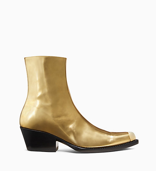 205W39NYC Western Ankle Boot in Metallic Leather - GOLD - 205W39NYC SHOES & ACCESSORIES - main image