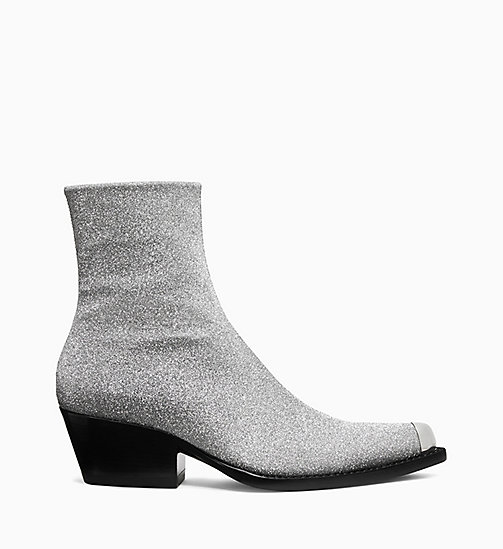 205W39NYC Western Ankle Boots in Diamond Dust Leather - SILVER - 205W39NYC SHOES & ACCESSORIES - main image