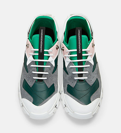 CALVIN KLEIN COLLECTION Nappa Suede Lace-Up Athletic Sneakers - LAKE/GRY/WHT/ROSE/BLK/TEAL - CALVIN KLEIN COLLECTION SHOES & ACCESSORIES - detail image 1