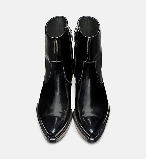 CALVIN KLEIN COLLECTION Western Leather Ankle Boots - BLACK - CALVIN KLEIN COLLECTION SHOES & ACCESSORIES - detail image 1