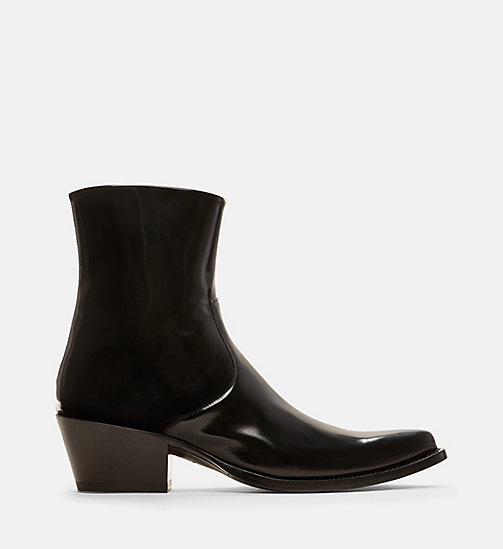 CALVIN KLEIN COLLECTION Western Leather Ankle Boots - BLACK - CALVIN KLEIN COLLECTION SHOES & ACCESSORIES - main image