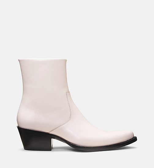 CALVIN KLEIN COLLECTION Western Leather Ankle Boots - POWDER - CALVIN KLEIN COLLECTION SHOES & ACCESSORIES - main image