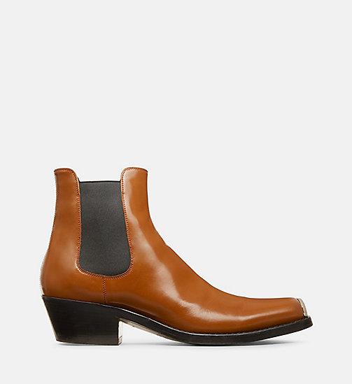 205W39NYC Leather Chelsea Boots with 205 Silver Toe Plate - OAK - 205W39NYC SHOES & ACCESSORIES - main image