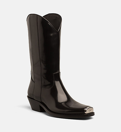 CALVIN KLEIN COLLECTION Leather Western Boots with 205 Silver Toe Plate - BLACK/BLACK -  SHOES & ACCESSORIES - main image