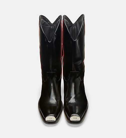 CALVIN KLEIN COLLECTION Leather Western Boots with 205 Silver Toe Plate - BLACK/ RED - CALVIN KLEIN COLLECTION SHOES - detail image 1