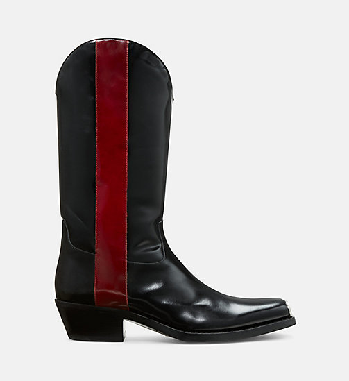 CALVIN KLEIN COLLECTION Leather Western Boots with 205 Silver Toe Plate - BLACK/ RED - CALVIN KLEIN COLLECTION SHOES - main image