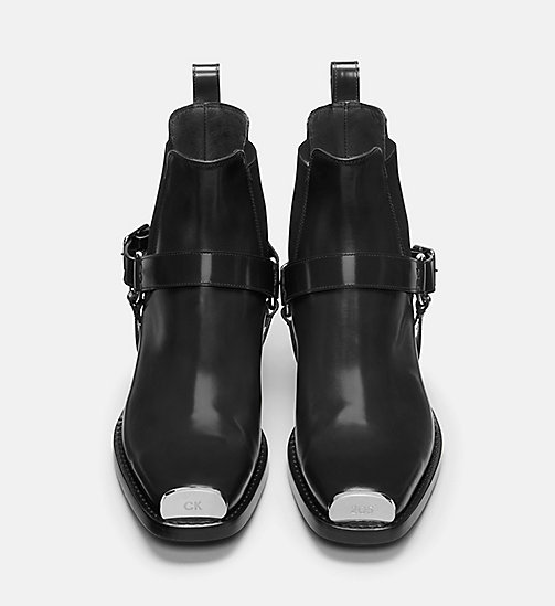 CALVIN KLEIN COLLECTION Calf Leather Western Harness Boots - BLACK - CALVIN KLEIN COLLECTION SHOES - detail image 1