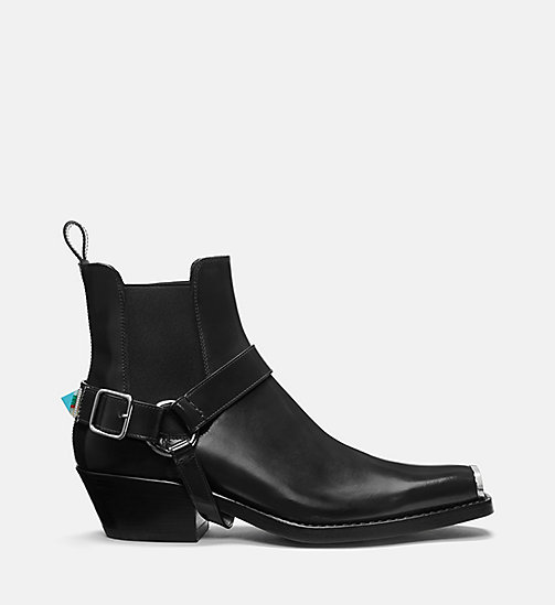 CALVIN KLEIN COLLECTION Calf Leather Western Harness Boots - BLACK - CALVIN KLEIN COLLECTION SHOES - main image