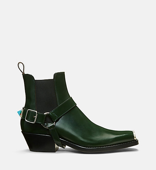 CALVIN KLEIN COLLECTION Calf Leather Western Harness Boots - FOREST - CALVIN KLEIN COLLECTION SHOES & ACCESSORIES - main image