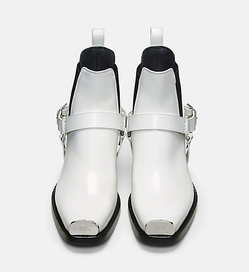 CALVIN KLEIN COLLECTION Calf Leather Western Harness Boots - WHITE - CALVIN KLEIN COLLECTION SHOES - detail image 1