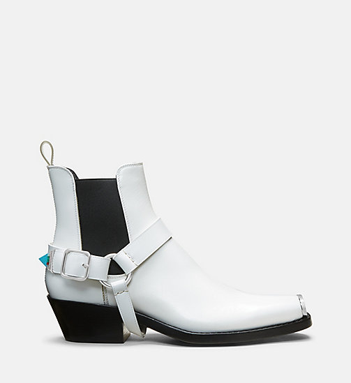 CALVIN KLEIN COLLECTION Bottes western à harnais en cuir de veau - WHITE - CALVIN KLEIN COLLECTION CHAUSSURES - image principale