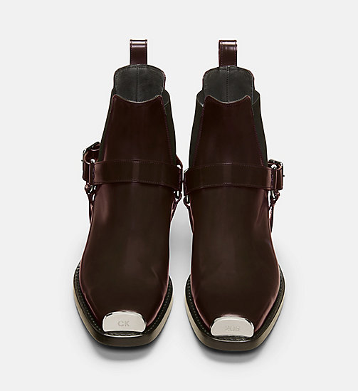 CALVIN KLEIN COLLECTION Calf Leather Western Harness Boots - COGNAC -  SHOES & ACCESSORIES - detail image 1
