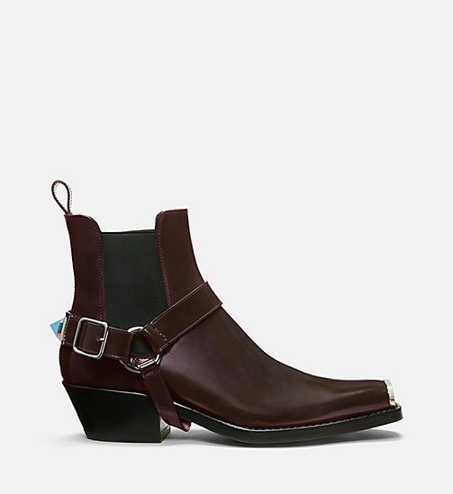 CALVIN KLEIN COLLECTION Calf Leather Western Harness Boots - COGNAC -  SHOES & ACCESSORIES - main image