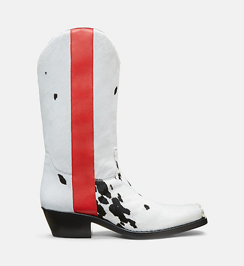 CALVIN KLEIN COLLECTION Printed Cow Haircalf Leather Western Boots - BLACK/WHITE/POPPY - CALVIN KLEIN COLLECTION SHOES & ACCESSORIES - main image