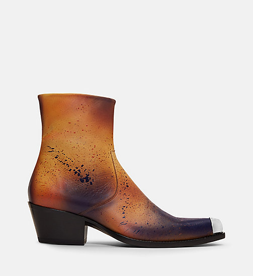 CALVIN KLEIN COLLECTION Disstressed Leather Western Ankle Boots - COGNAC/BLUE -  SHOES & ACCESSORIES - main image