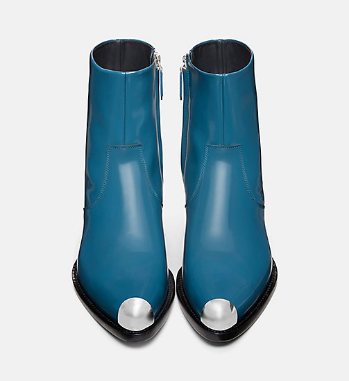 CALVIN KLEIN COLLECTION Calf Leather Western Ankle Boots - DARK TURQUOISE - CALVIN KLEIN COLLECTION SHOES & ACCESSORIES - detail image 1