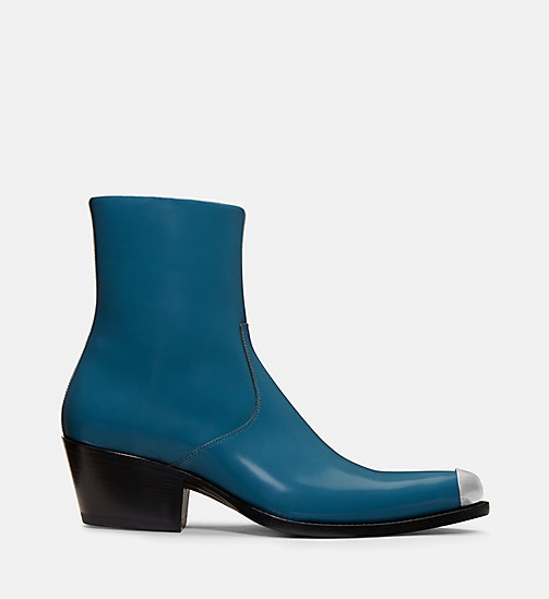 CALVIN KLEIN COLLECTION Calf Leather Western Ankle Boots - DARK TURQUOISE -  SHOES & ACCESSORIES - main image