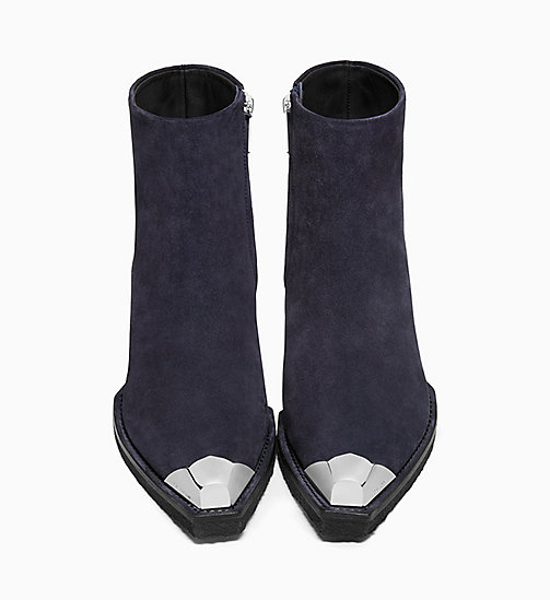 205W39NYC Silver Toe Western Ankle Boots in Suede - NAVY - 205W39NYC SHOES & ACCESSORIES - detail image 1