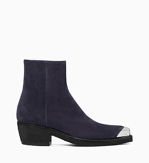 205W39NYC Silver Toe Western Ankle Boots in Suede - NAVY - 205W39NYC SHOES & ACCESSORIES - main image