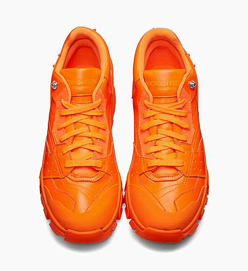 CALVIN KLEIN COLLECTION Cander 7 Nappa Leather Trainers - FLUORESCENT ORANGE - CALVIN KLEIN COLLECTION SHOES & ACCESSORIES - detail image 1