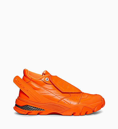 CALVIN KLEIN COLLECTION Cander 7 Nappa Leather Trainers - FLUORESCENT ORANGE - CALVIN KLEIN COLLECTION SHOES & ACCESSORIES - main image