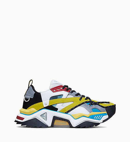 CALVIN KLEIN COLLECTION Strike 205 Calf Leather Trainers - LAGOON/YELLOW/WHT/BLK/BURGUNDY - CALVIN KLEIN COLLECTION SHOES & ACCESSORIES - main image