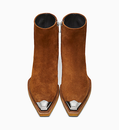 205W39NYC Silver Toe Cap Suede Ankle Boots - DARK COGNAC - 205W39NYC SHOES & ACCESSORIES - detail image 1