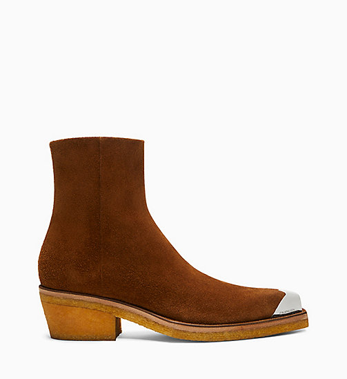 205W39NYC Silver Toe Cap Suede Ankle Boots - DARK COGNAC - 205W39NYC SHOES & ACCESSORIES - main image