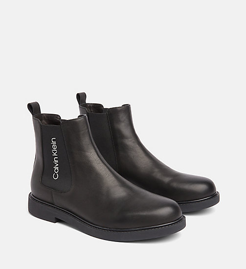 CALVIN KLEIN Leather Ankle Boots - BLACK - CALVIN KLEIN BOOTS - detail image 1
