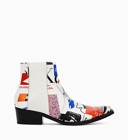 CALVIN KLEIN JEANS Graphic Leather Boots - WHITE - CALVIN KLEIN JEANS SHOES - main image