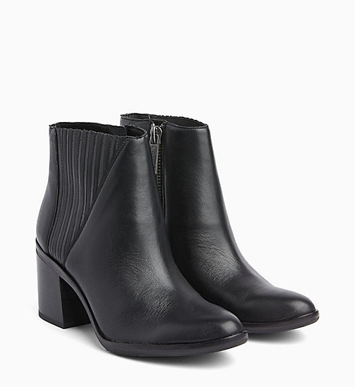 CALVIN KLEIN JEANS Leather Zip Ankle Boots - BLACK - CALVIN KLEIN JEANS BOOTS - detail image 1