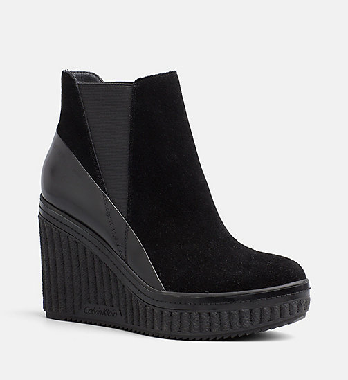 CALVIN KLEIN JEANS Suede Ankle Boots - BLACK/BLACK - CALVIN KLEIN JEANS BOOTS - main image