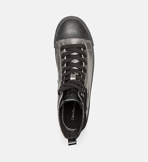 CALVIN KLEIN JEANS Metallic Canvas High-Top Sneakers - PEWTER/ BLACK - CALVIN KLEIN JEANS SHOES - detail image 1