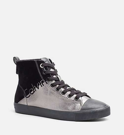 CALVIN KLEIN JEANS Metallic Canvas High-Top Sneakers - PEWTER/ BLACK - CALVIN KLEIN JEANS SHOES - main image