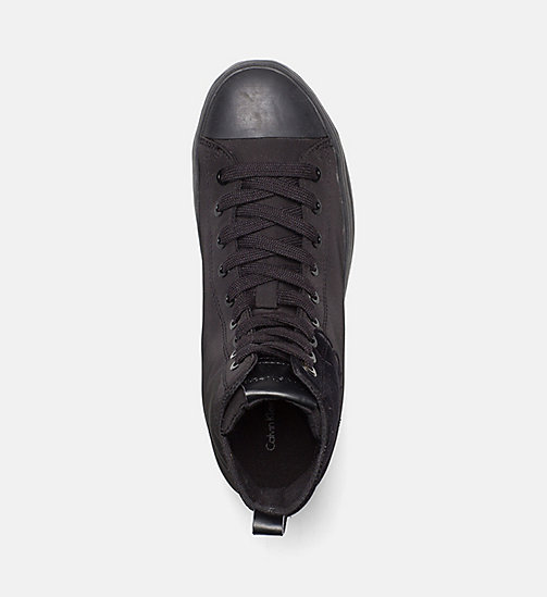CALVIN KLEIN JEANS Nylon Twill High-Top Sneakers - BLACK/BLACK - CALVIN KLEIN JEANS SHOES - detail image 1