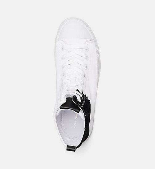 CALVIN KLEIN JEANS Nylon Twill High-Top Sneakers - WHITE BLACK - CALVIN KLEIN JEANS TRAINERS - detail image 1