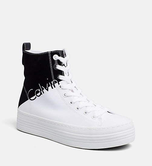 CALVIN KLEIN JEANS Nylon Twill High-Top Sneakers - WHITE BLACK - CALVIN KLEIN JEANS TRAINERS - main image