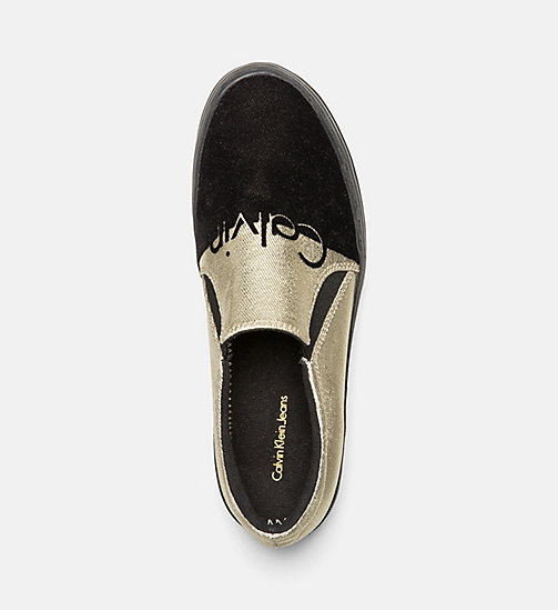 CALVIN KLEIN JEANS Metallic Canvas Slip-On Shoes - GOLD/BLACK - CALVIN KLEIN JEANS FLAT SHOES - detail image 1