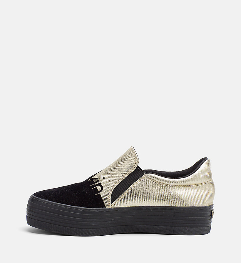 CALVIN KLEIN JEANS Metallic Canvas Slip-On Shoes - SILVER/WHITE - CALVIN KLEIN JEANS WOMEN - detail image 2