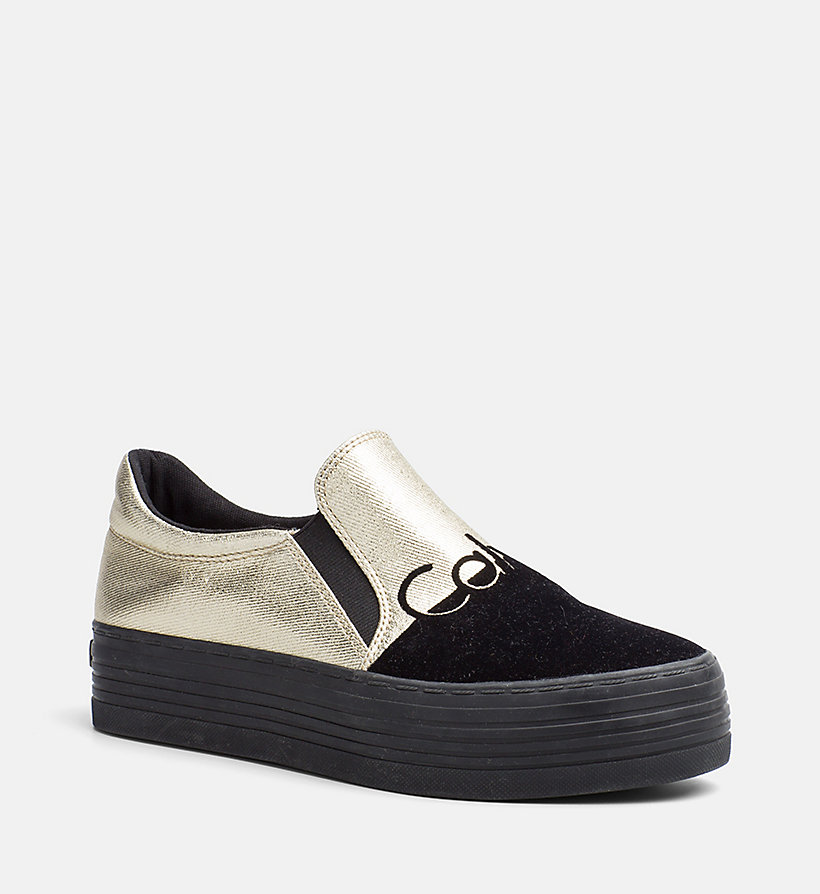 CALVIN KLEIN JEANS Metallic Canvas Slip-On Shoes - SILVER/WHITE - CALVIN KLEIN JEANS WOMEN - main image