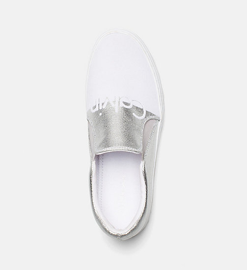 CALVIN KLEIN JEANS Metallic Canvas Slip-On Shoes - SILVER/WHITE - CALVIN KLEIN JEANS SHOES & ACCESORIES - detail image 1