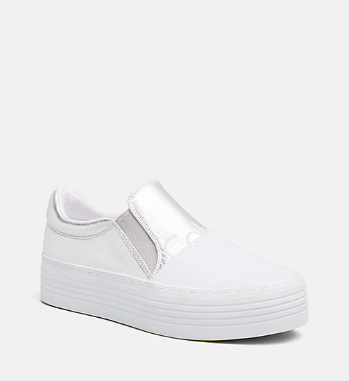 CALVIN KLEIN JEANS Metallic Canvas Slip-On Shoes - SILVER/WHITE - CALVIN KLEIN JEANS SHOES & ACCESORIES - main image