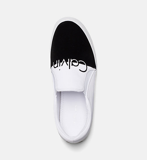 CALVIN KLEIN JEANS Nylon Twill Slip-On Shoes - WHITE BLACK - CALVIN KLEIN JEANS TRAINERS - detail image 1