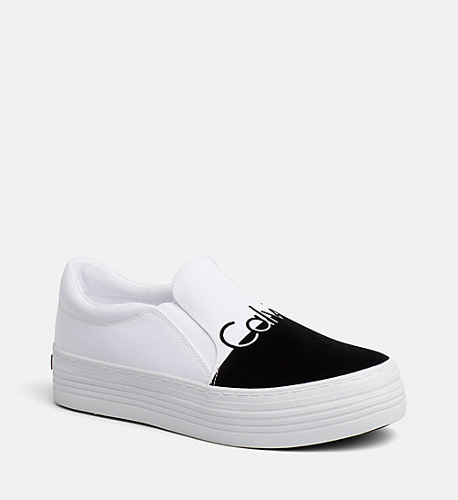 CALVIN KLEIN JEANS Nylon Twill Slip-On Shoes - WHITE BLACK - CALVIN KLEIN JEANS TRAINERS - main image
